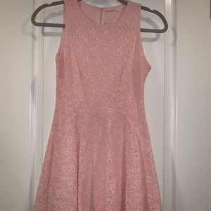 Pink Floral Lace Sleeveless Dress